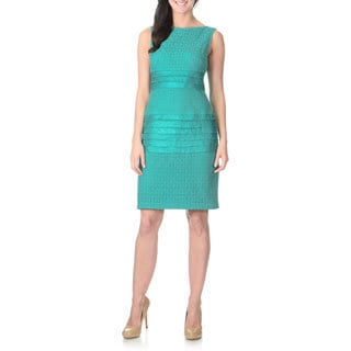 London Times Women's Turquoise Lace Sleeveless Dress
