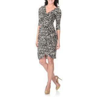 London Times Women's Black Novelty Print Mock Wrap Dress