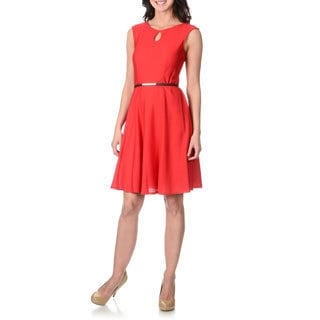 London Times Women's Red Fit and Flare Textured Dress