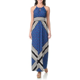 London Times Women's Boho Print Maxi Sleeveless Dress