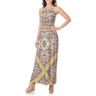 London Times Women's Paisley Print Halter Maxi Dress