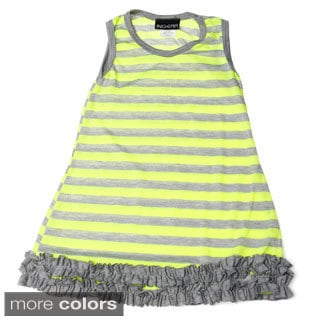 InGear Girls Striped Ruffle-hem Sleeveless Dress