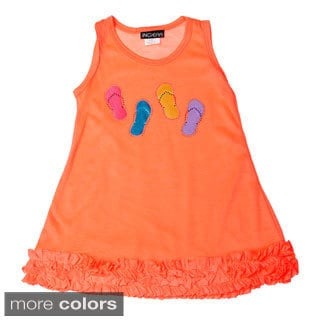 InGear Girls Flip-flop Print Ruffled Hem Dress