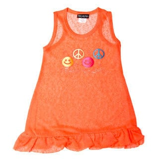 InGear Girls Peace/Love Print Ruffled Hem Dress