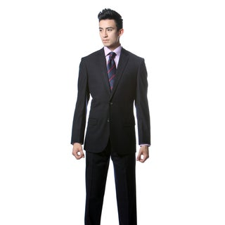 Zonettie by Ferrecci Men's Custom Slim Fit Dark Navy Plaid Suit