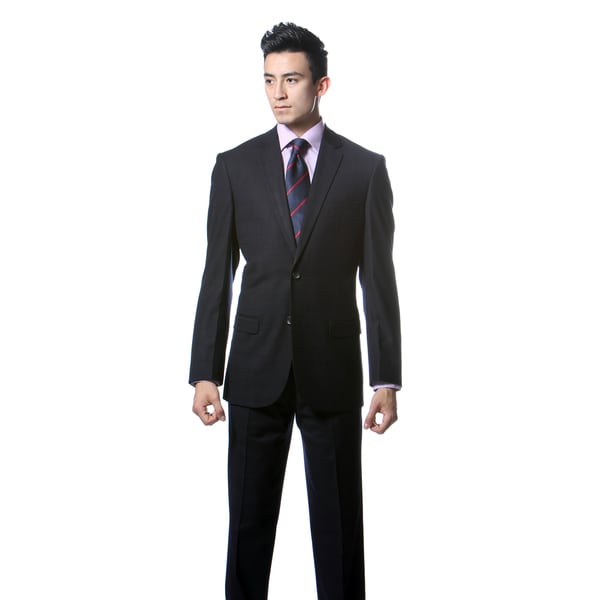 Zonettie by Ferrecci Men's Custom Slim Fit Dark Navy Plaid Suit