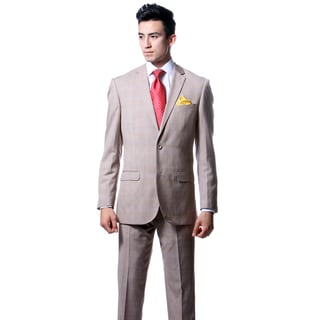 Zonettie by Ferrecci Mens Custom Slim Fit Tan Plaid Suit