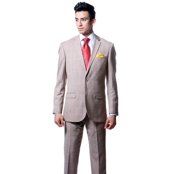 Zonettie by Ferrecci Mens Custom Slim Fit Tan Plaid Suit