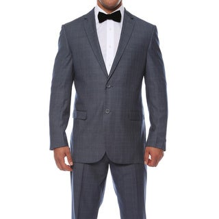 Zonettie by Ferrecci Men's Custom Slim Fit Navy and White Plaid 2-button Suit