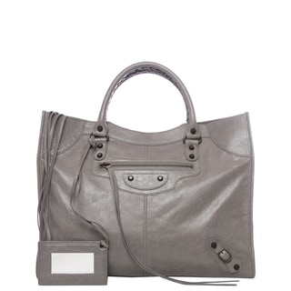 Balenciaga 'Classic Monday' Grey Lambskin Leather Satchel