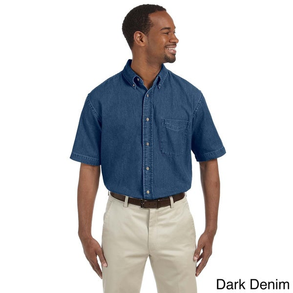 Harriton Men's Denim Short Sleeve Button-down Shirt