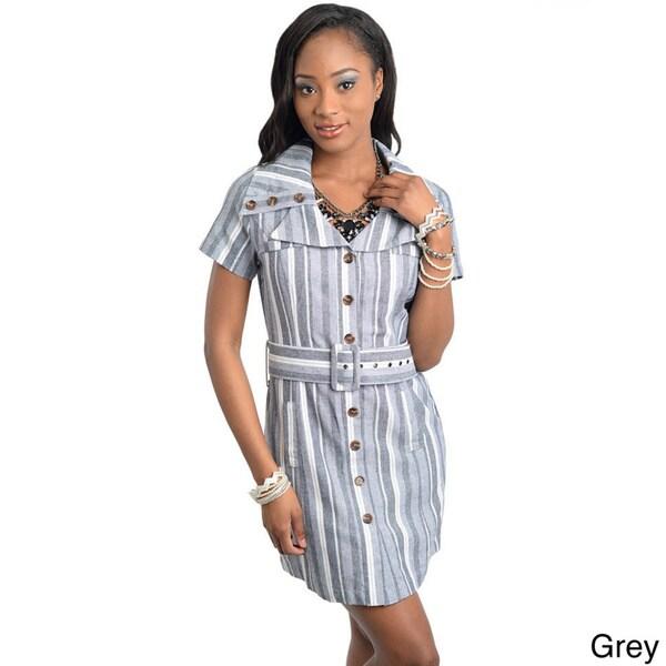 Stanzino Women's Striped Button-down Belted Dress