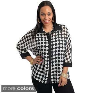 Stanzino Women's Plus Size Diamond Check Chiffon Shirt