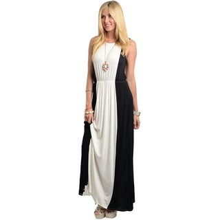 Stanzino Women's Black and White Sleeveless Maxi Dress