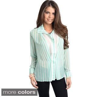 Stanzino Women's Striped Long Sleeve Button-down Shirt