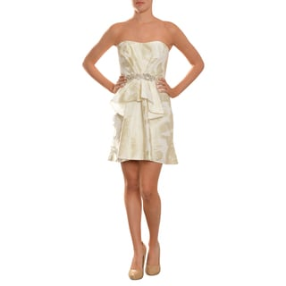 A.B.S. Women's Ivory Strapless Jeweled Brocade Party Dress