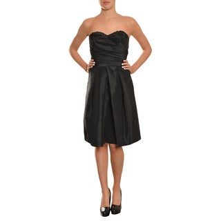 A.B.S. Women's Black Pleated Taffeta Cocktail Dress