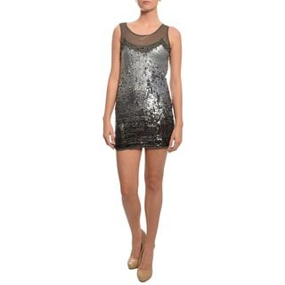 A.B.S. Women's Silver Allover Sequined Party Dress