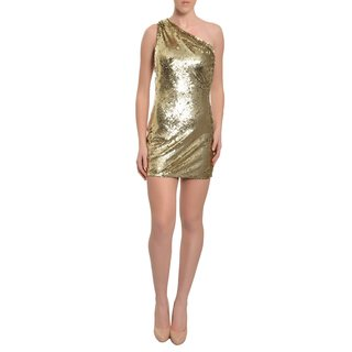 A.B.S. Womens Gold Sequined One-shoulder Mini Dress