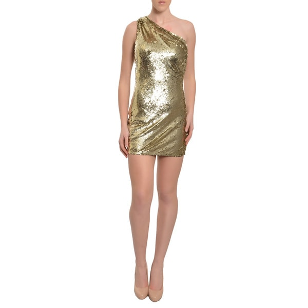 A.B.S. Womens Gold Sequined One-shoulder Mini Cocktail Party Evening Dress