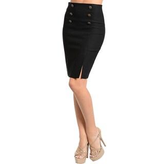 Stanzino Women's Solid Black High-waist Pencil Skirt