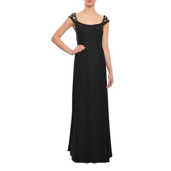 ASA Angel Sanchez Women's Black Sequined Crepe-sleeve Evening Dress