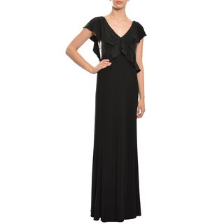 ASA Angel Sanchez Women's Black Ruffled Sequin-panel Jersey Evening Gown Dress