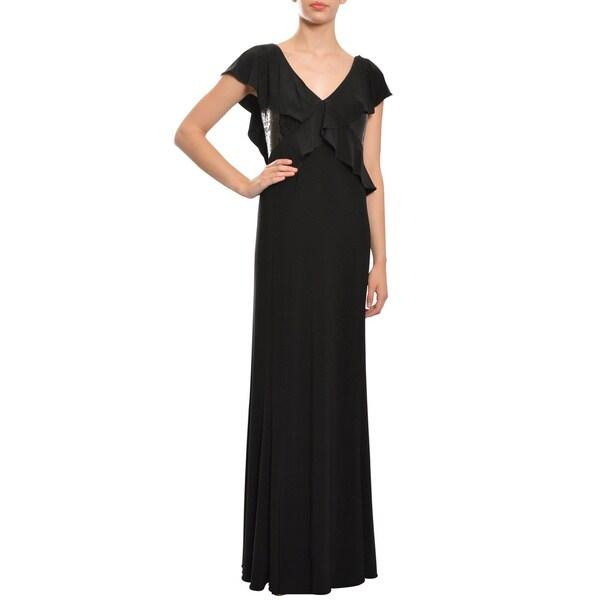 ASA Angel Sanchez Women's Black Ruffled Sequin-panel Jersey Evening Gown Dress