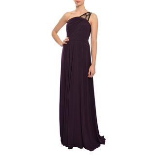 ASA Angel Sanchez Women's Eggplant One-shoulder Sequin-knit Evening Gown Dress