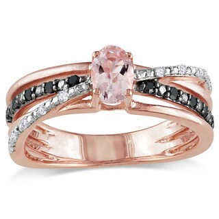 Miadora Rose-plated Silver Morganite and 1/6ct TDW Black and White Diamond Ring (H-I, I2-I3)