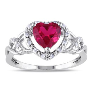 Miadora Sterling Silver Created Ruby and 1/10ct TDW Diamond Heart Ring (H-I, I2-I3)
