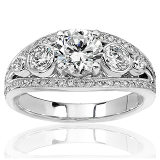 Annello 18k White Gold Certified 1 3/4ct TDW Round Diamond Engagement Ring (G, SI3)