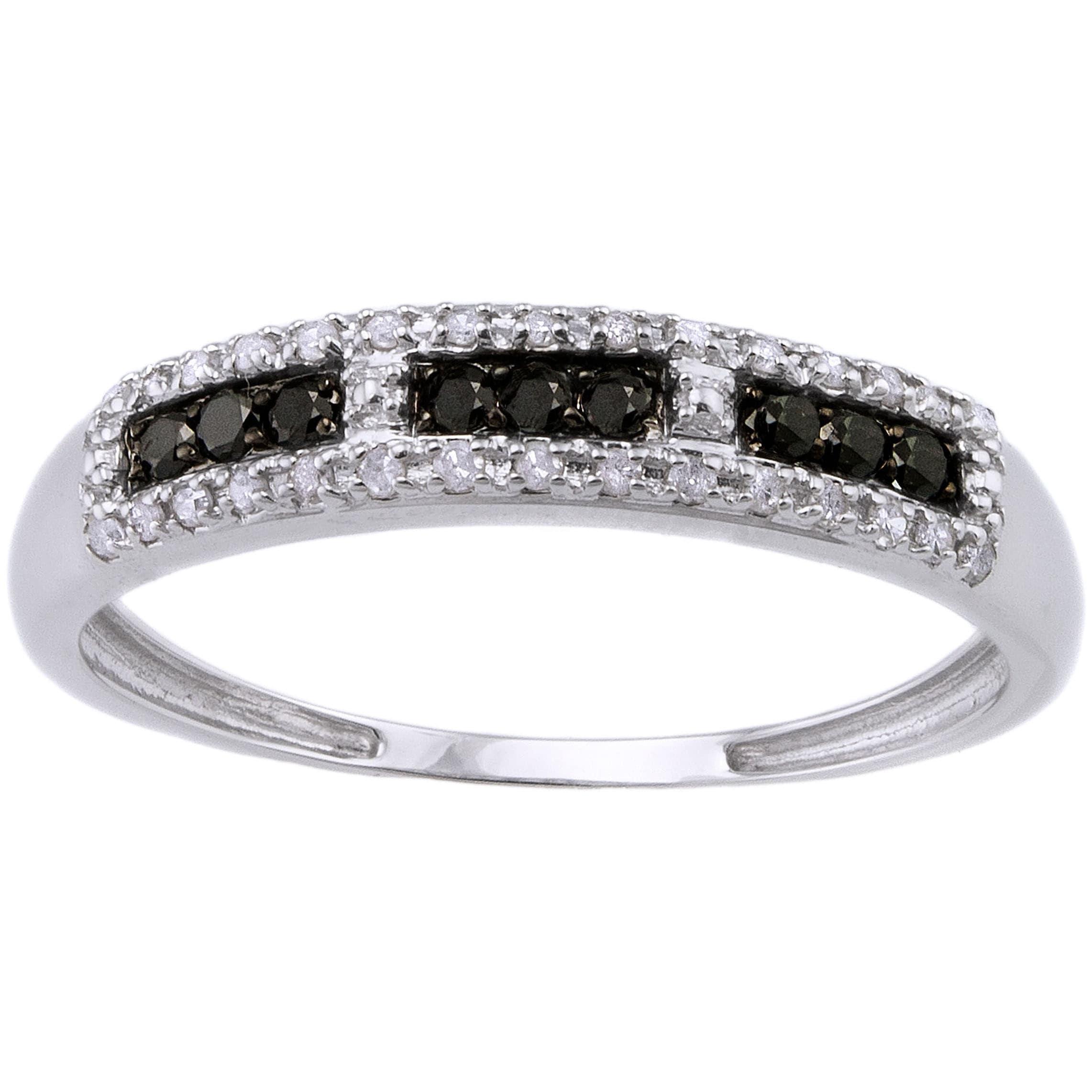 Beverly Hills Charm 10k White Gold 1/5ct TDW Black/ White Diamond Ring at Sears.com