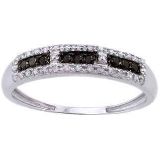 Beverly Hills Charm 10k White Gold 1/5ct TDW Black/ White Diamond Ring