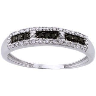 Beverly Hills Charm 10k White Gold 1/5ct TDW Black and White Diamond Band Ring (H-I, I2-I3)