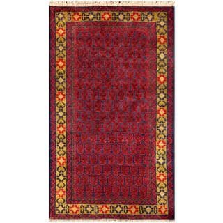 Herat Oriental Semi-antique Afghan Hand-knotted Tribal Balouchi Red/ Navy Wool Rug (2'9 x 4'8)