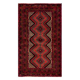 Herat Oriental Semi-antique Afghan Hand-knotted Tribal Balouchi Red/ Navy Wool Rug (2'8 x 4'9)