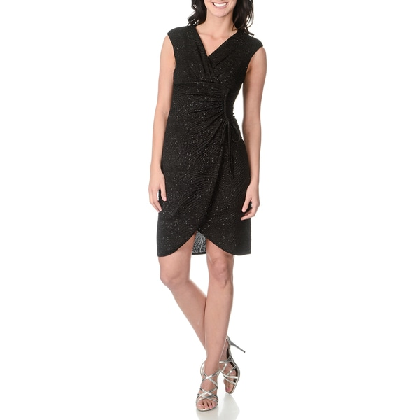 London Times Women's Glittery Black Mock-wrap Textured Dress