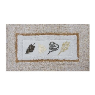 Embroidery Beige Leaves 21 x 34 Bath Rug