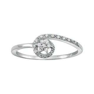 Beverly Hills Charm 10k White Gold 1/10ct TDW Diamond Flower Ring (H-I, I2-I3)