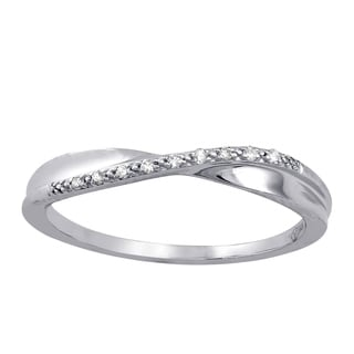 Beverly Hills Charm 10k White Gold Crossover Diamond Accent Ring