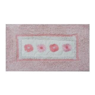 Embroidery Pink Daisy 21 x 34 Bath Rug