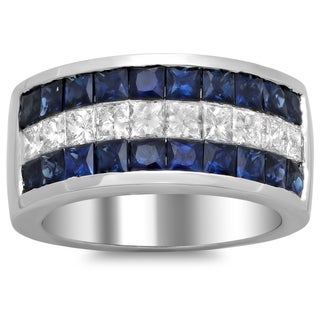 18k White Gold Sapphire and 7/8ct TDW Diamond Ring (F-G, SI1-SI2)