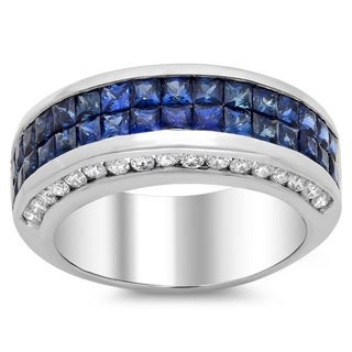 14k White Gold Blue Sapphire and 3/4ct TDW Diamond Ring (F-G, SI1-SI2)