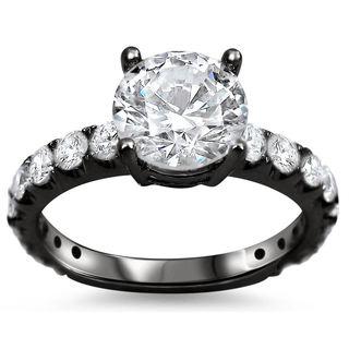 Noori 18k Black Gold 1 4/5ct TDW Round Clarity-enhanced Diamond Engagement Ring (G-H, SI1-SI2)