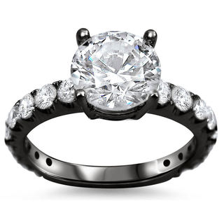 18k Black Gold 2 1/10ct TDW Round Clarity-enhanced Diamond Engagement Ring (G-H, SI1-SI2)