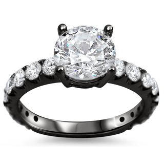 18k Black Gold 1 1/2ct TDW Round Diamond Clarity-enhanced Engagement Ring (G-H, SI1-SI2)