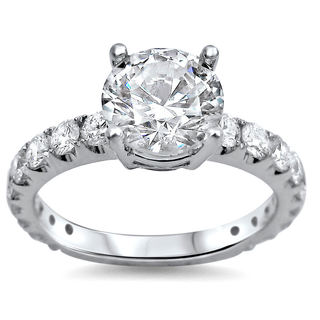 18k White Gold 1 4/5ct TDW Round Clarity-enhanced Diamond Engagement Ring (G-H, SI1-SI2)