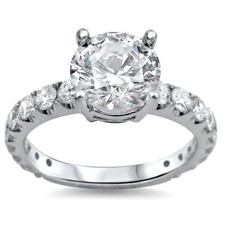 18k White Gold 2ct TDW Round Clarity-enhanced Diamond Engagement Ring (G-H, SI1-SI2)