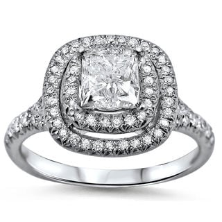 18k White Gold 1 2/5ct TDW Double Halo Clarity-enhanced Diamond Ring (G-H, SI1-SI2)